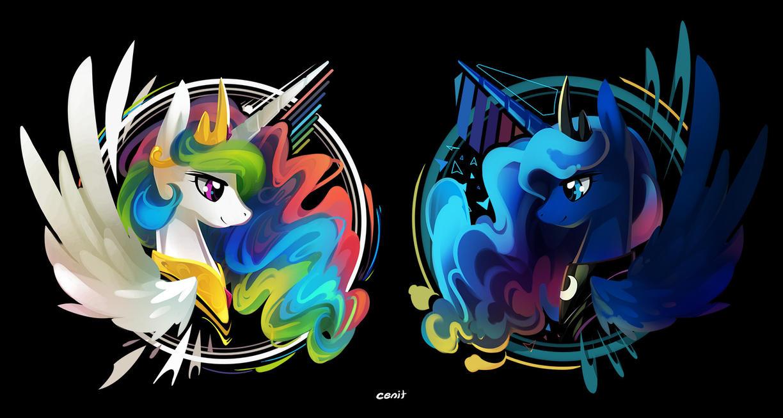 Celestia and Luna by Cenit-v