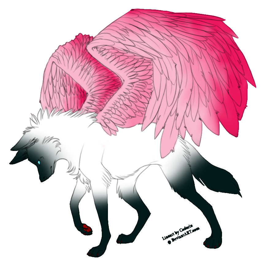 Free Winged Wolf Lineart By Cederin by ...