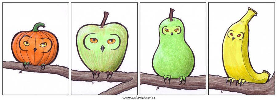 Fruity Owls by ankewehner