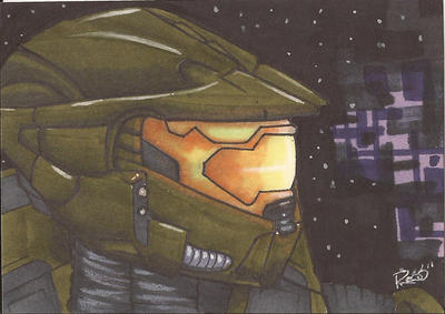 Master Chief Sketch Card by Ross-A
