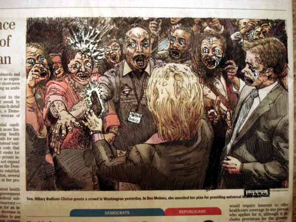 hillary battles iowa zombies by radiofreezombie