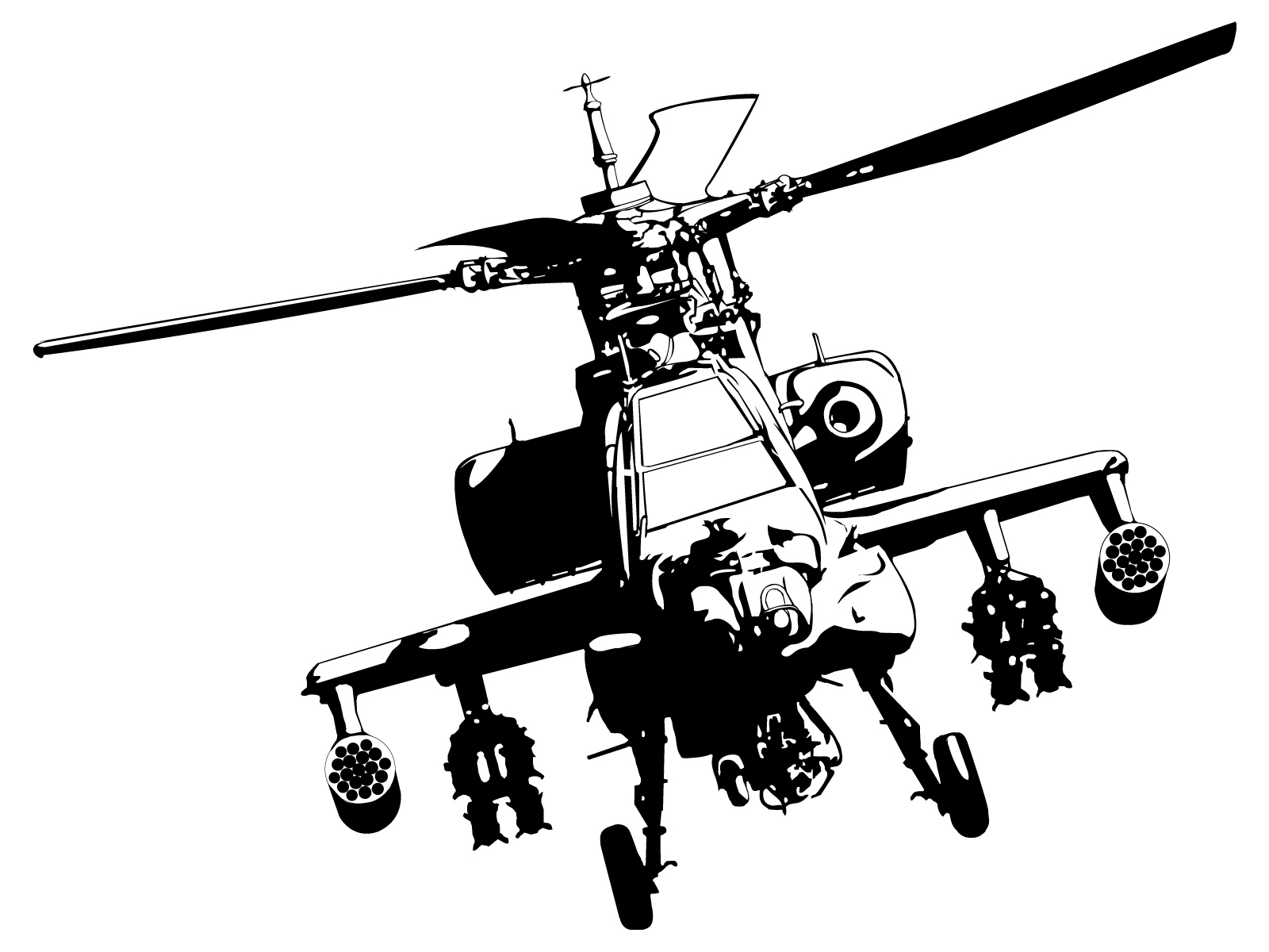 Line Drawing Helicopter : Apache helicopter drawing pixshark images