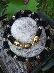 Matte black necklace made of Japanese Toho beads by Naidiriv