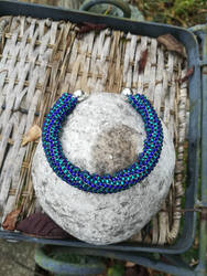 Open cuff/Torc emerald and deep blue by Naidiriv