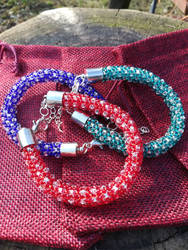 Stackable bracelets in matching colors