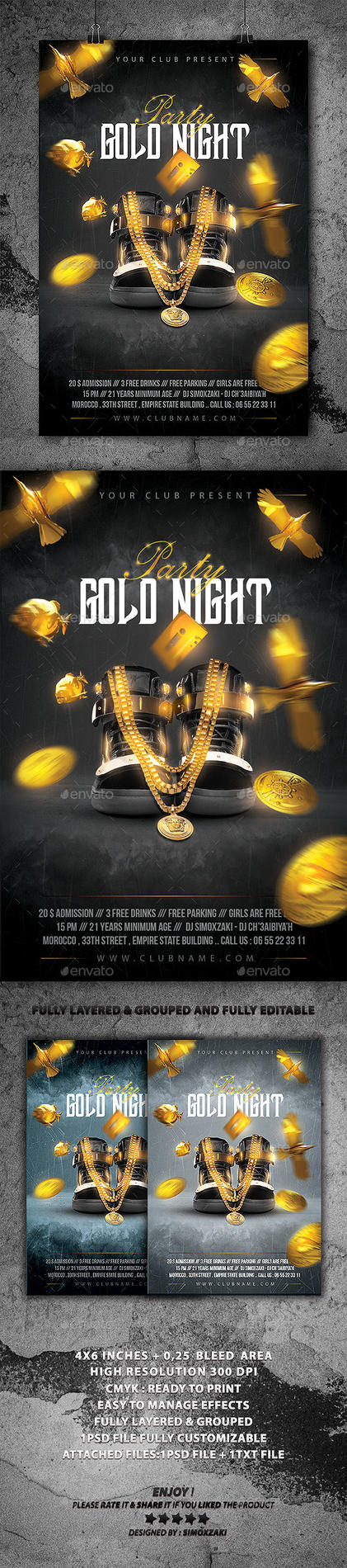 Gold Night Party flyer by SimoXZaki