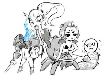 Recurring Monster Girls Sketch by macollado17