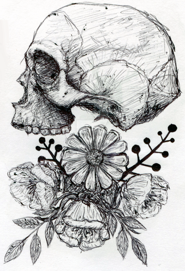 Skull and flowers by x-612 on DeviantArt