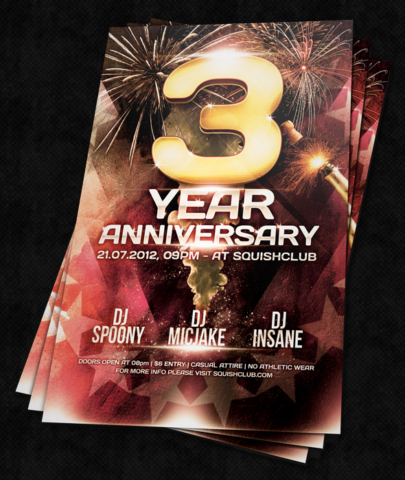 Anniversary Party Flyer Psd By Squizmo On Deviantart