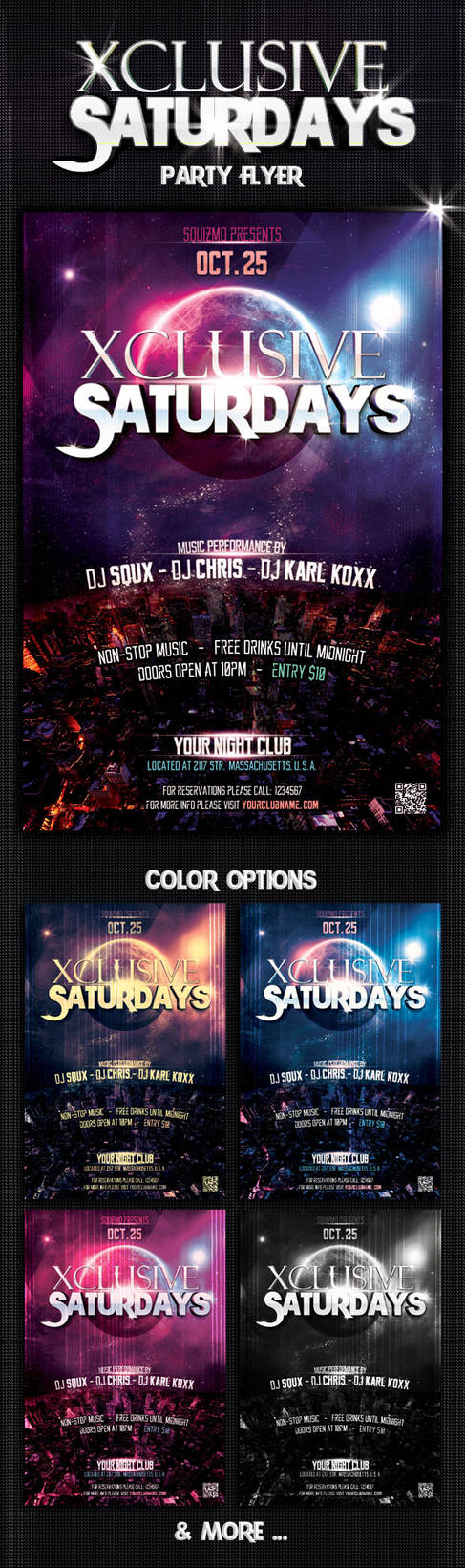 Xclusive Saturdays Party Flyer by squizmo