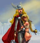 Lady Thor and Valkyrie