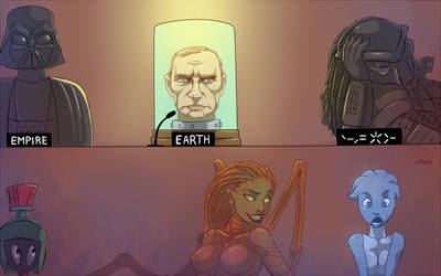 President of Earth  in intergalactic summit 3012