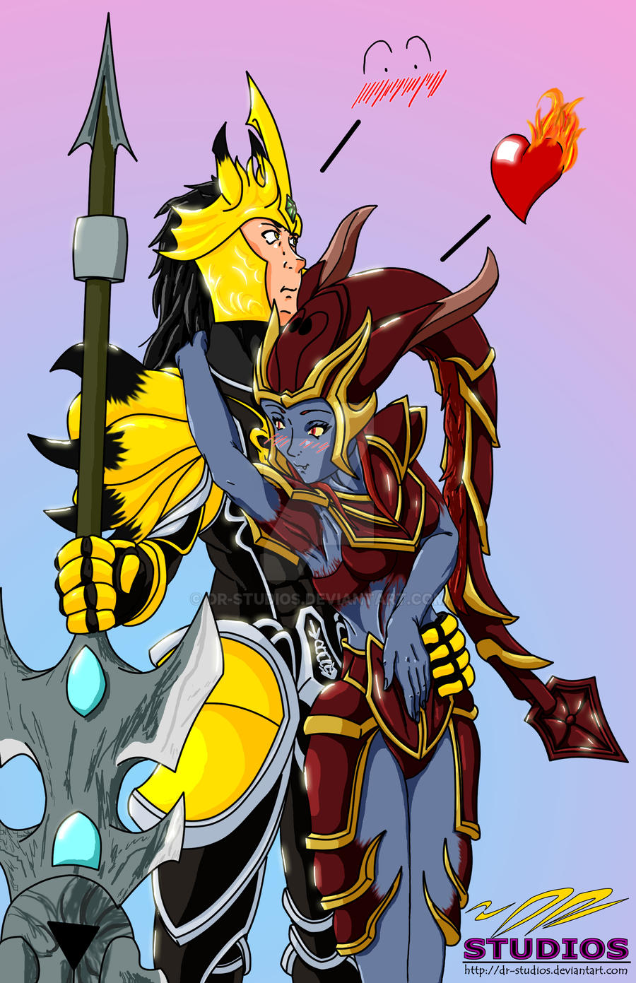 Jarvan IV and Shyvana by DR-Studios on DeviantArt