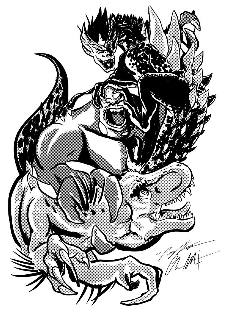 Three-way-Battle!  Kodoja vs Gfantis vs Atomic Rex by DR-Studios