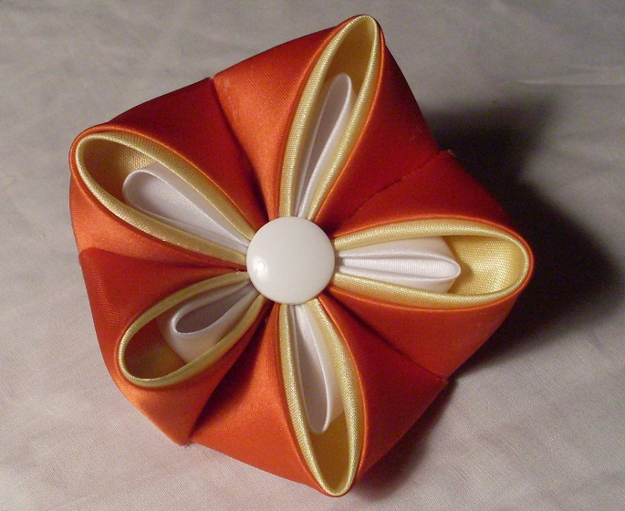 Candy Corn Kanzashi Flower by PastryStitches