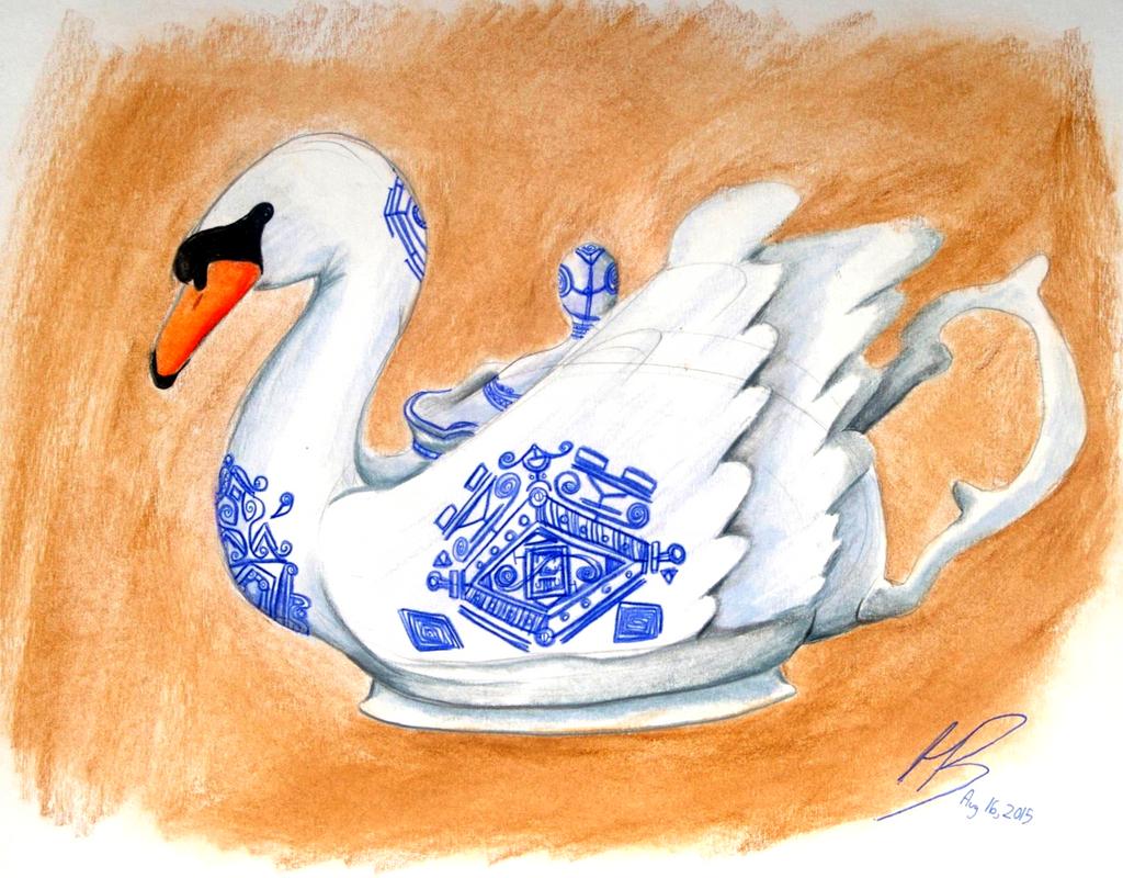 Swan Teapot by DracoPhobos