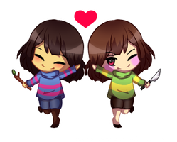 Undertale Chibis ft. Frisk and Chara by Megumi-ChanYT