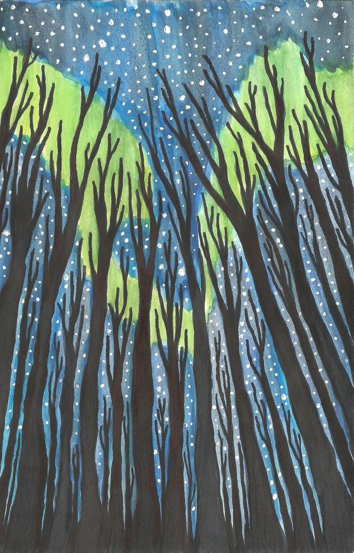Aurora in a Forest by michnguyenart