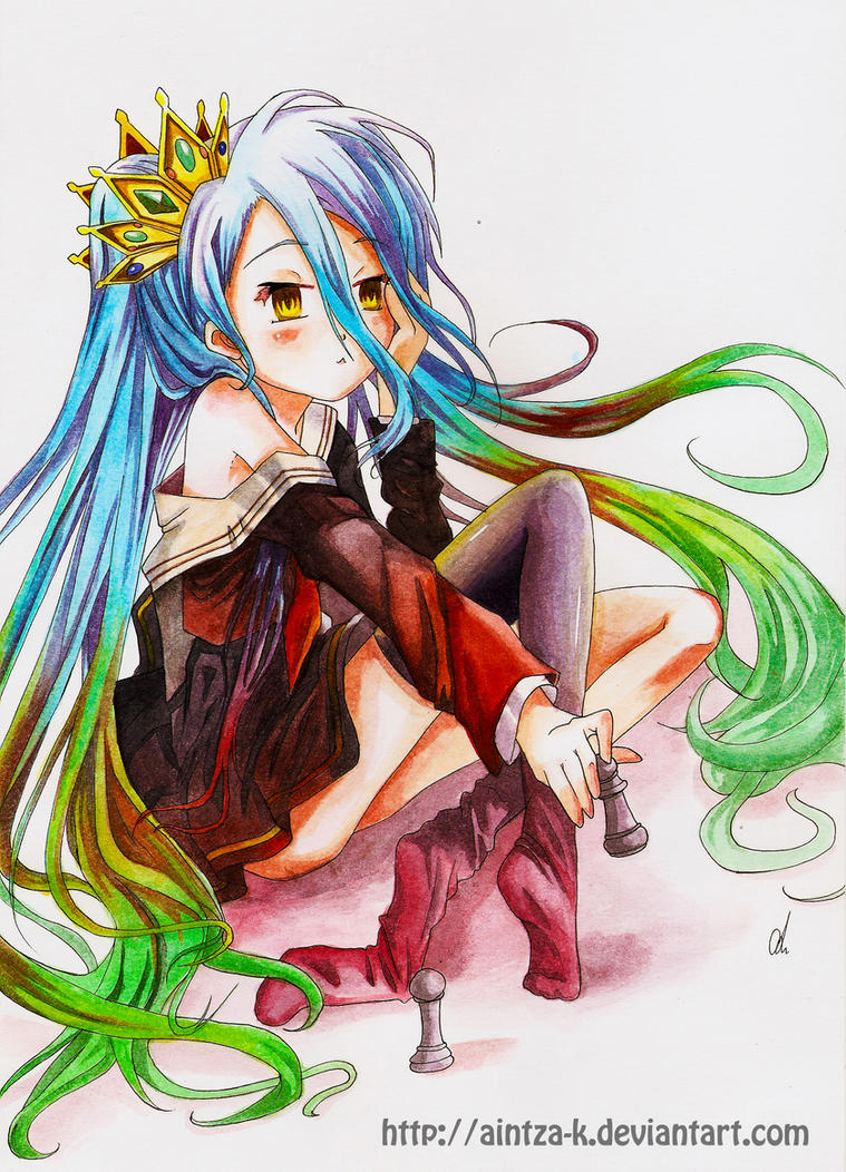Game with watercolor - No Game No Life Fanart Shiro By Aintza K