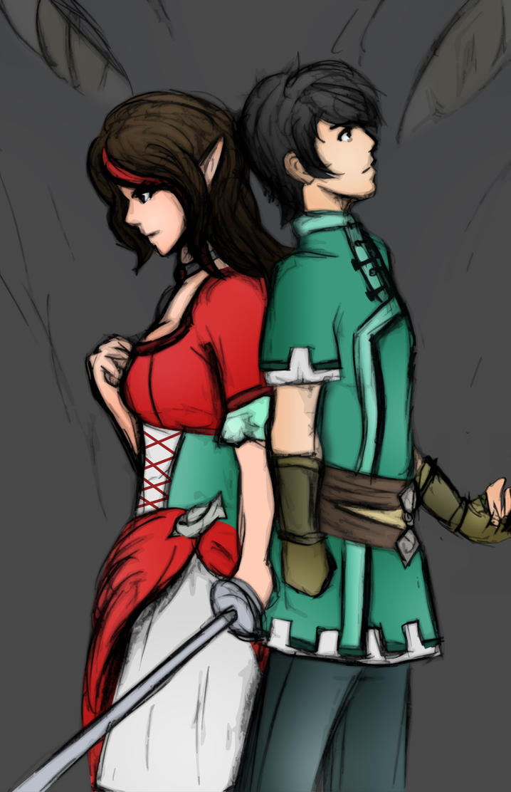 Aelwen and Gerel (Dragon Queen: Scarlet Reign) by CaiusNelson
