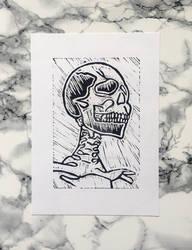 Skull Linocut Print