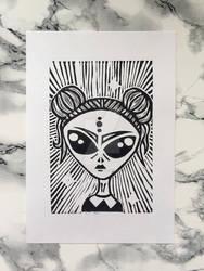 Space Girl Linocut Print