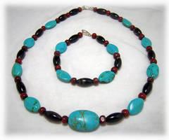 Turquoise Necklace + Bracelet by Llyzabeth