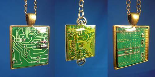Circuit Board Pendants by Llyzabeth