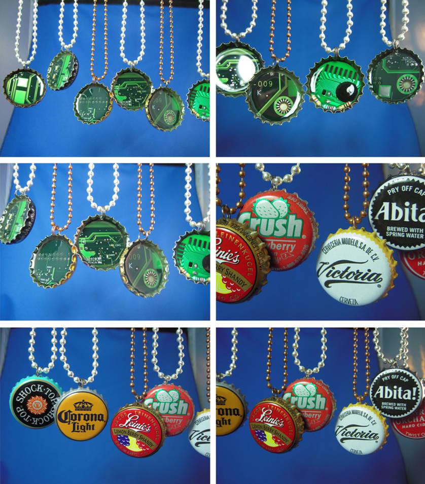 Bottle cap circuit board pendants - new batch by Llyzabeth