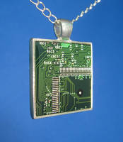 Circuit Board Pendant: Mazes by Llyzabeth