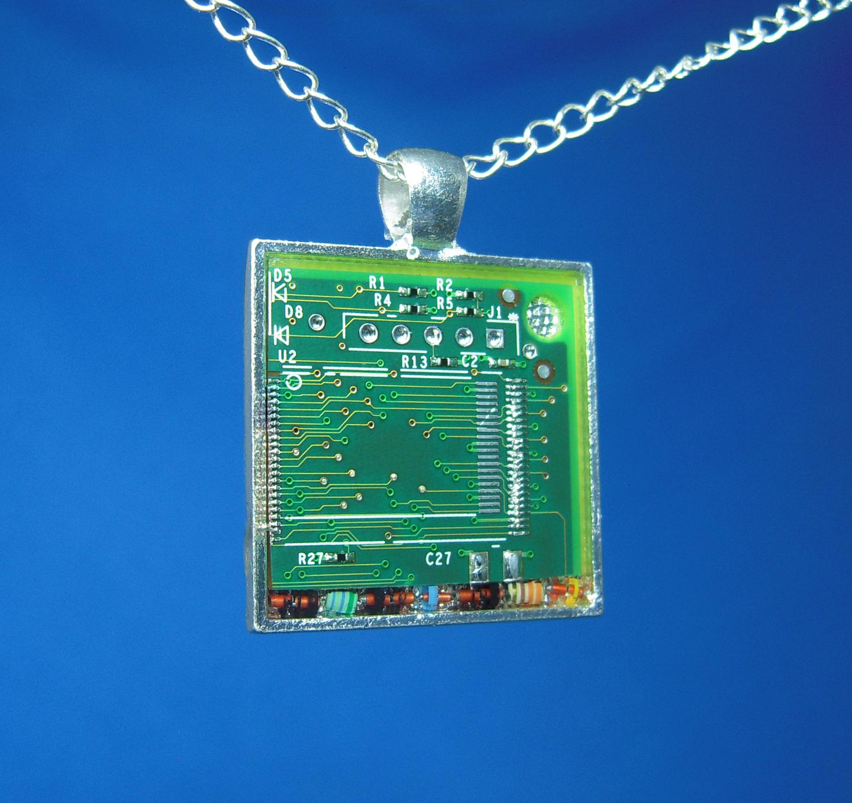 Circuit Board Pendant: Confetti Resistors by Llyzabeth