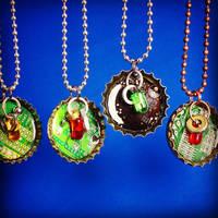 Bottle cap pendants with hanging hardware 3 by Llyzabeth