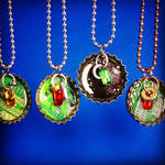 Bottle cap pendants with hanging hardware 3