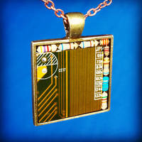 Circuit Board Pendant: Brass on Brass
