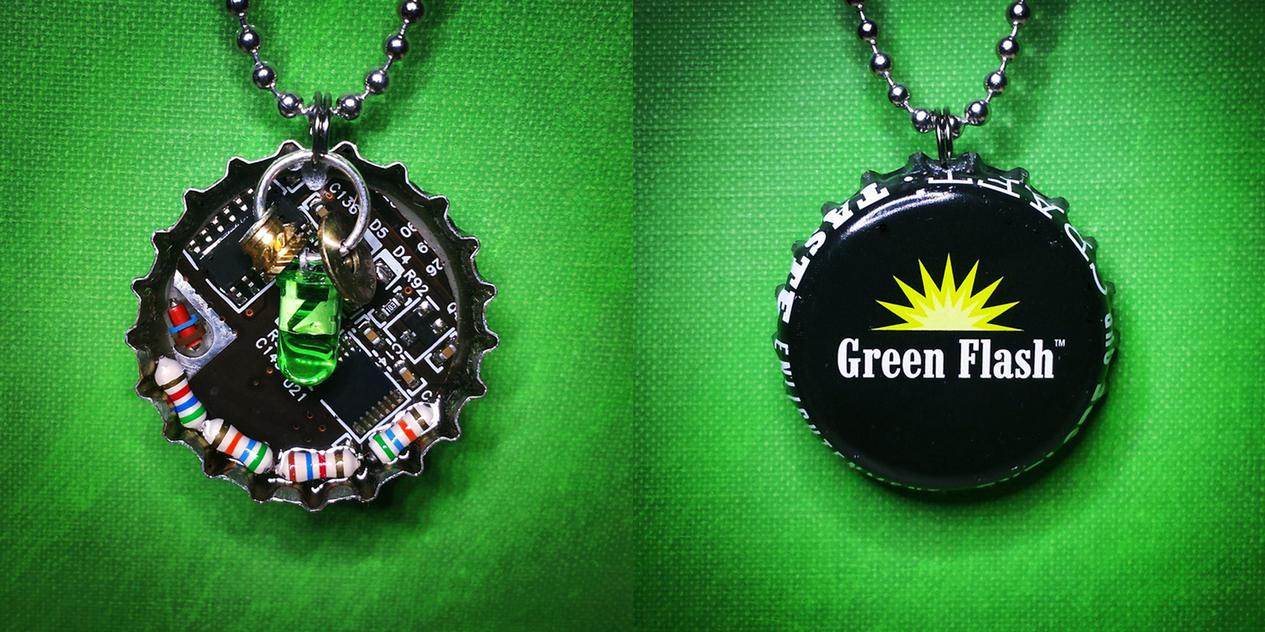 Circuit Board Bottle Cap Pendant - Green Flash by Llyzabeth