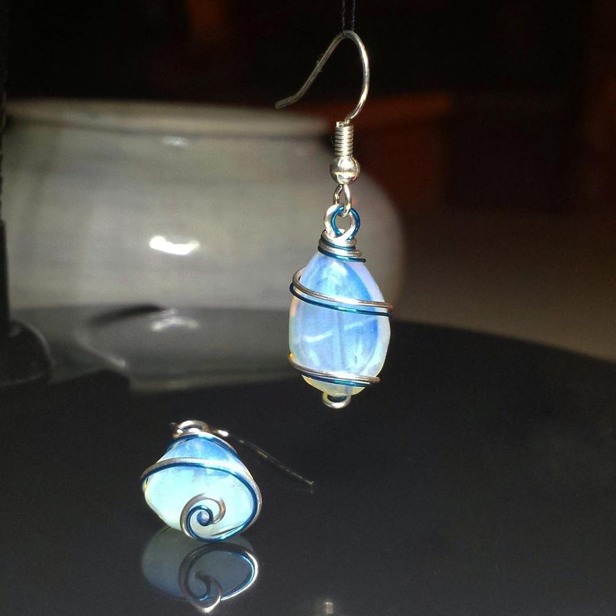 Opalite and wire earrings by Llyzabeth