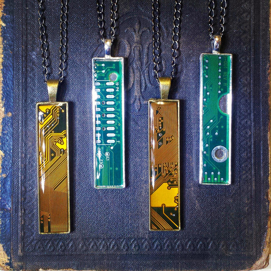 Circuit Board Pendants - Pencil Width by Llyzabeth