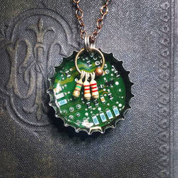 Circuit Board Bottle Cap Pendant - Blue Elements by Llyzabeth