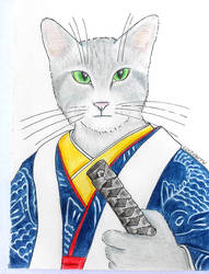 Samurai Cat by Llyzabeth