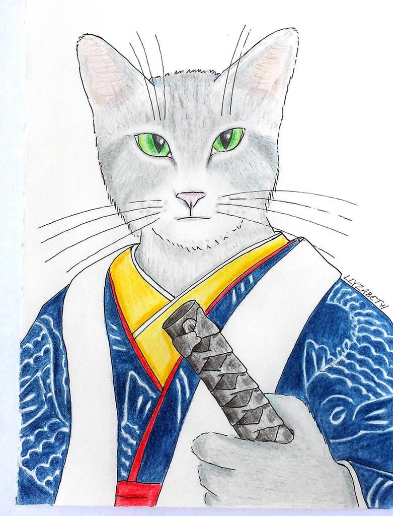 Samurai Cat by Llyzabeth