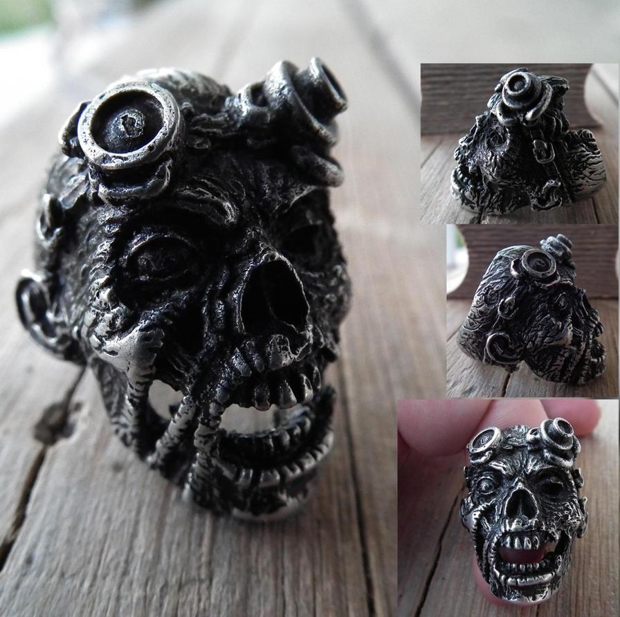 Zombie Steampunk Ring by SimonSaysBaka