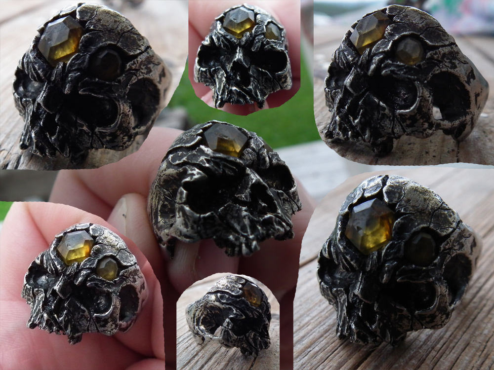 Amber infected Skull Ring by SimonSaysBaka