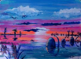 Cretaceous sunset by QueenslandChris