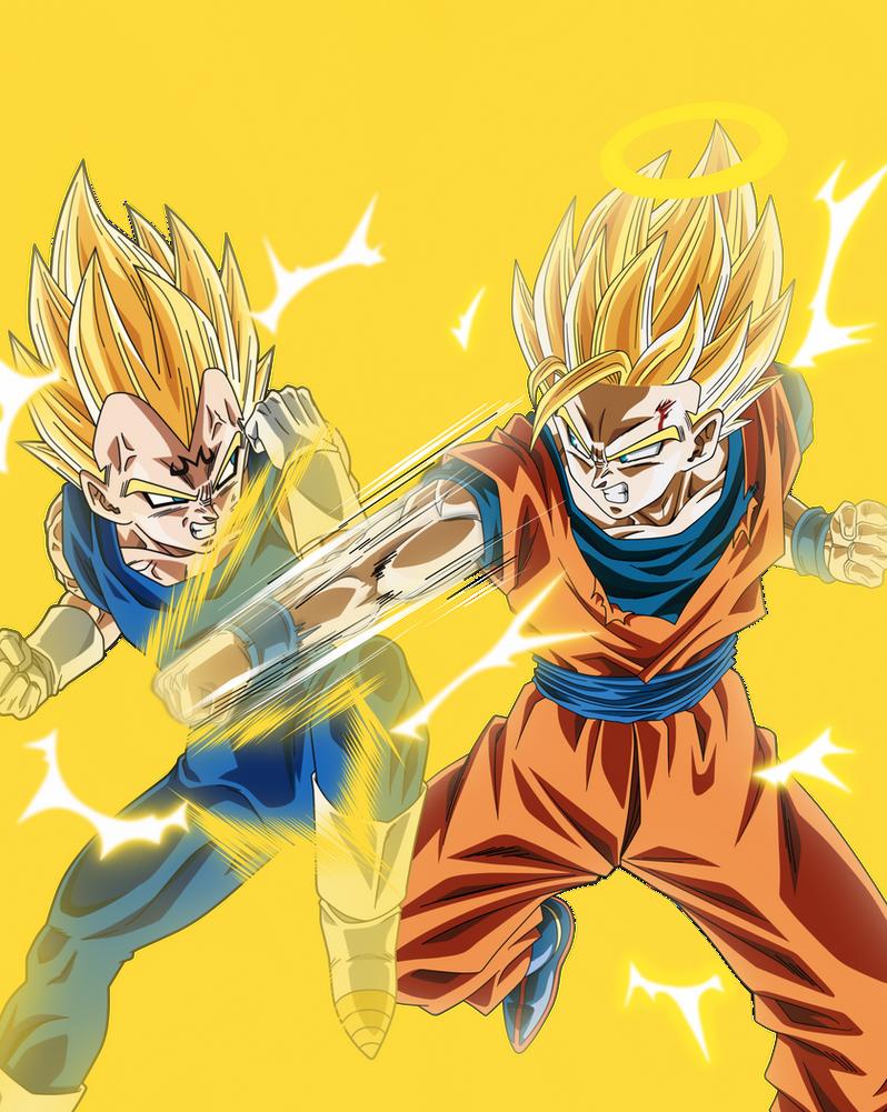 Majin Bejita VS Son Goku Supa Saiya-jin by Monstkem