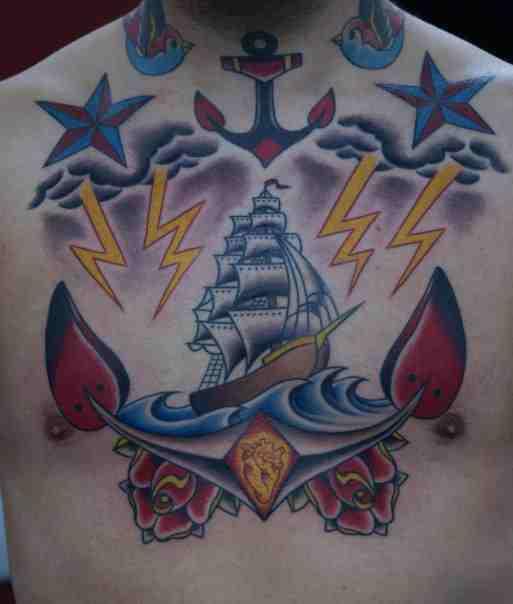 Clipper Ship Chest Piece - chest tattoo