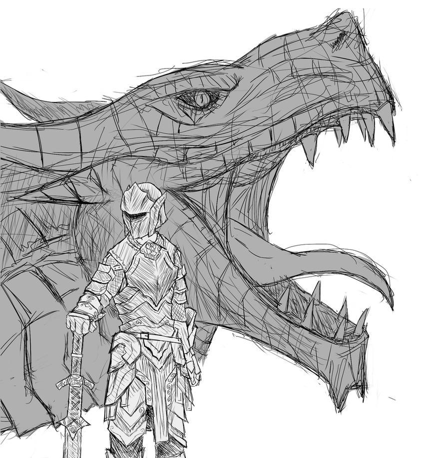 Skyrim: Dovahkiin Sketch By Vidolus On DeviantArt