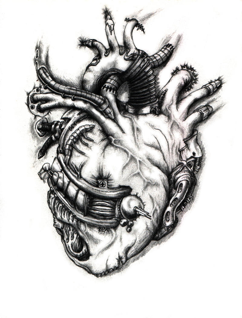 the bend: Biomechanical skull tattoo design
