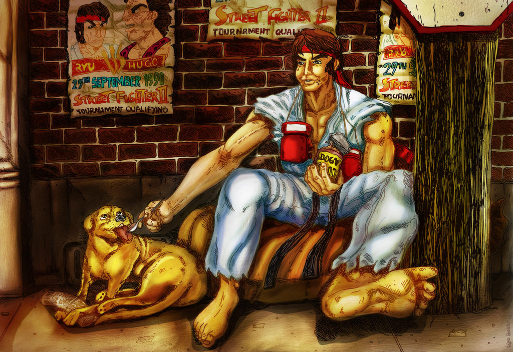 Ryu waiting for his next fight by biondoartwork