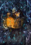 Flashlight with fireflies