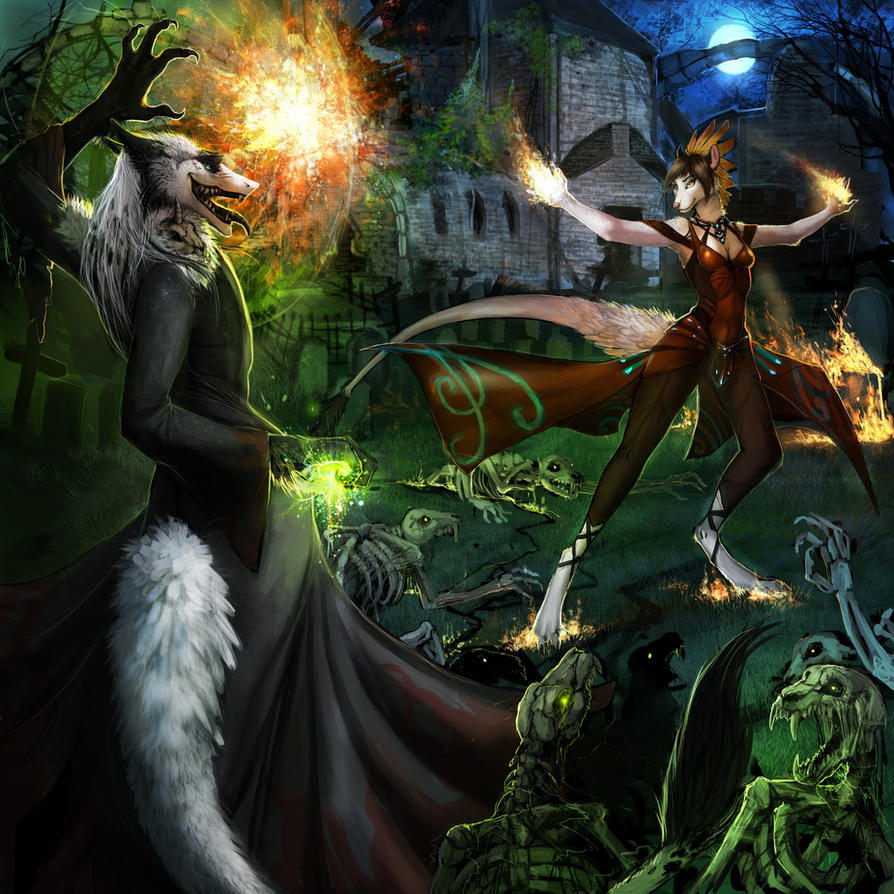 Magical battle by Araivis-Edelveys